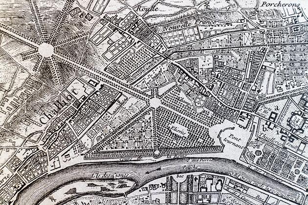 1748年のパリ地図