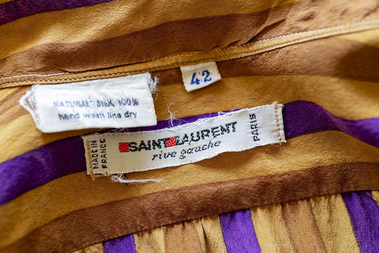 1970年代Saint Laurent rive gaucheのシルク地シャツ
