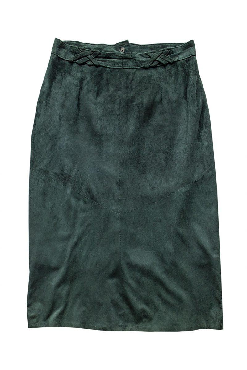 1970年代の深緑色スウェード地スカート