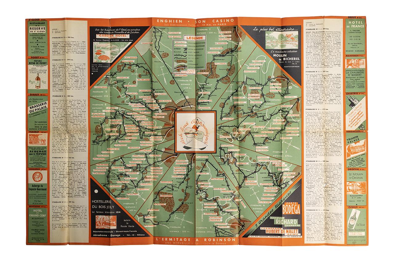 1937年パリから車で行けるレストランガイド地図