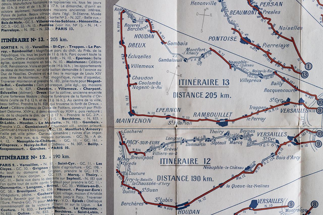 1936年パリ郊外サイクリングコース地図