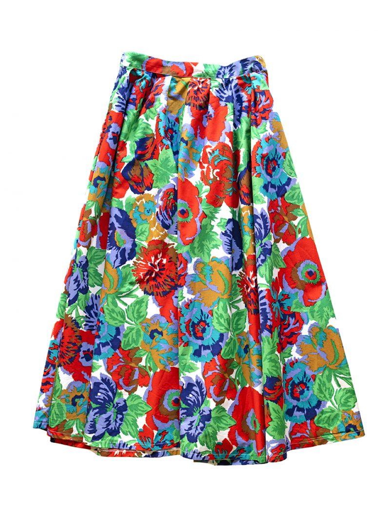 1980年代Gaston Jaunet花柄スカート